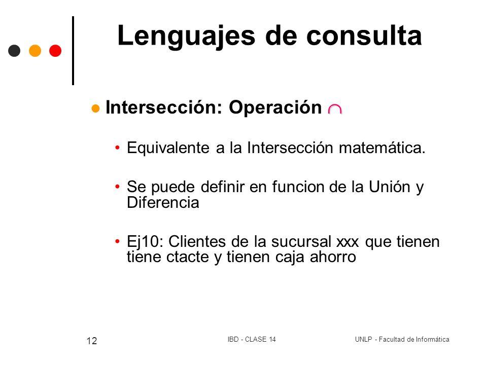UNLP - Facultad de InformáticaIBD - CLASE 14 12 Lenguajes de consulta Intersección: Operación Equivalente a la Intersección matemática. Se puede defin