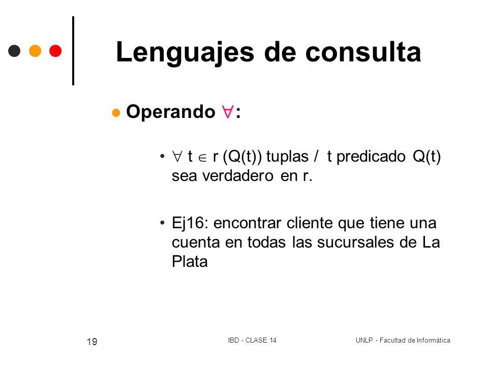 UNLP - Facultad de InformáticaIBD - CLASE 14 19 Lenguajes de consulta Operando : t r (Q(t)) tuplas / t predicado Q(t) sea verdadero en r. Ej16: encont