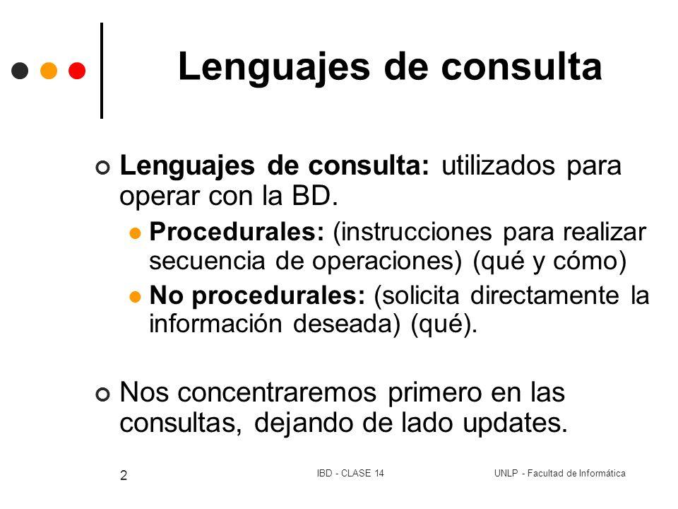 UNLP - Facultad de InformáticaIBD - CLASE 14 2 Lenguajes de consulta Lenguajes de consulta: utilizados para operar con la BD. Procedurales: (instrucci