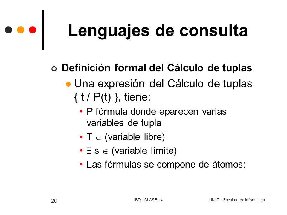 UNLP - Facultad de InformáticaIBD - CLASE 14 20 Lenguajes de consulta Definición formal del Cálculo de tuplas Una expresión del Cálculo de tuplas { t