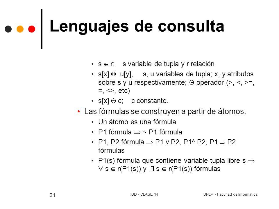 UNLP - Facultad de InformáticaIBD - CLASE 14 21 Lenguajes de consulta s r; s variable de tupla y r relación s[x] u[y], s, u variables de tupla; x, y a