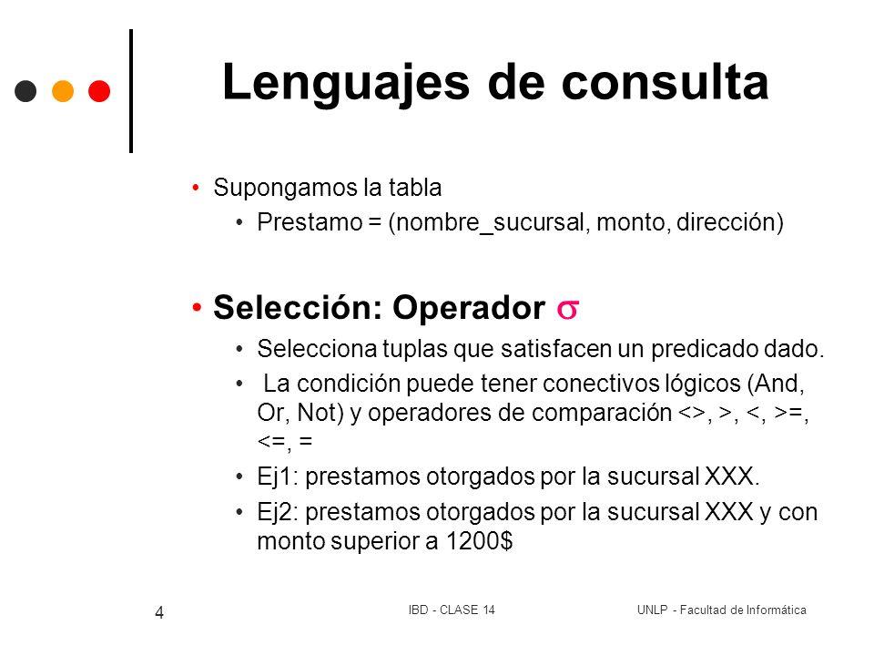 UNLP - Facultad de InformáticaIBD - CLASE 14 15 Lenguajes de consulta % División: Operación % Dado R1 y R2, el resultado son los valores de atributos de R1, que se relacionan con todas las tuplas de R2 R1 % R2 sii Esquema de R2 está incluido en el Esquema de R1 Esq( R1 % R2)= Esq( Esq(R1) – Esq(R2) ) Hacen_Cursos=(# alu, nom_curso) Cursos=(nom_curso) -> Hacen_Cursos % Cursos (alumnos que hicieron todos los cursos que existen)