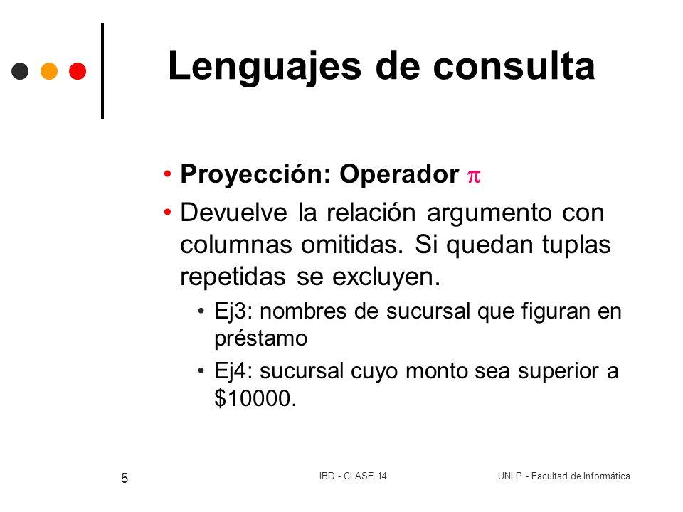 UNLP - Facultad de InformáticaIBD - CLASE 14 5 Lenguajes de consulta Proyección: Operador Devuelve la relación argumento con columnas omitidas. Si que