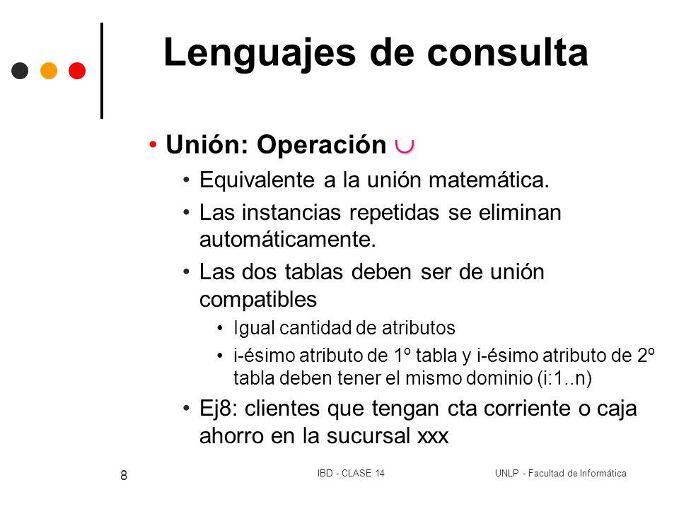 UNLP - Facultad de InformáticaIBD - CLASE 14 8 Lenguajes de consulta Unión: Operación Equivalente a la unión matemática. Las instancias repetidas se e