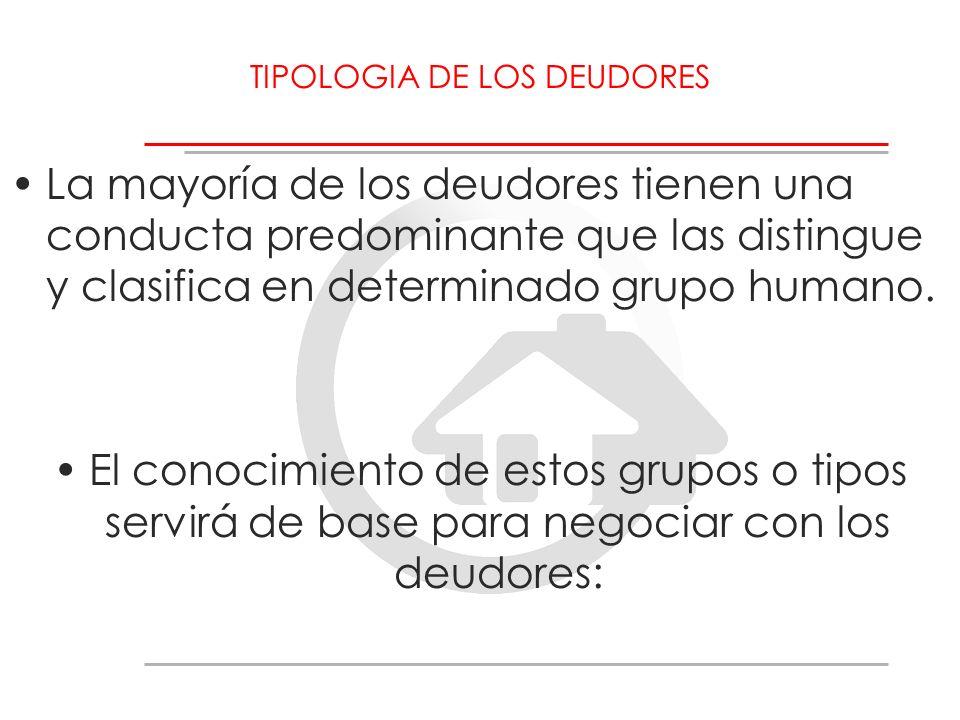 TIPOLOGIA DE LOS DEUDORES La mayoría de los deudores tienen una conducta predominante que las distingue y clasifica en determinado grupo humano. El co