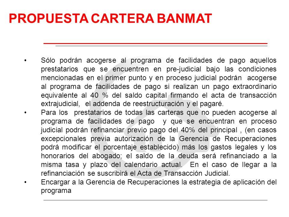 PROPUESTA CARTERA BANMAT Sólo podrán acogerse al programa de facilidades de pago aquellos prestatarios que se encuentren en pre-judicial bajo las cond