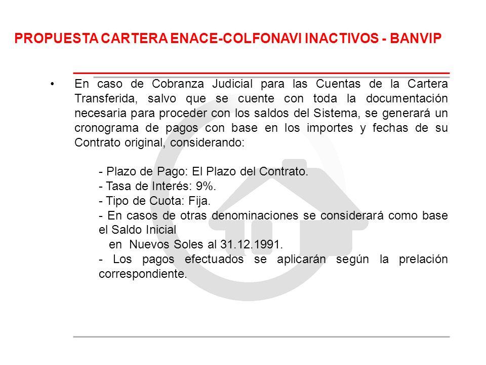 PROPUESTA CARTERA ENACE-COLFONAVI INACTIVOS - BANVIP En caso de Cobranza Judicial para las Cuentas de la Cartera Transferida, salvo que se cuente con