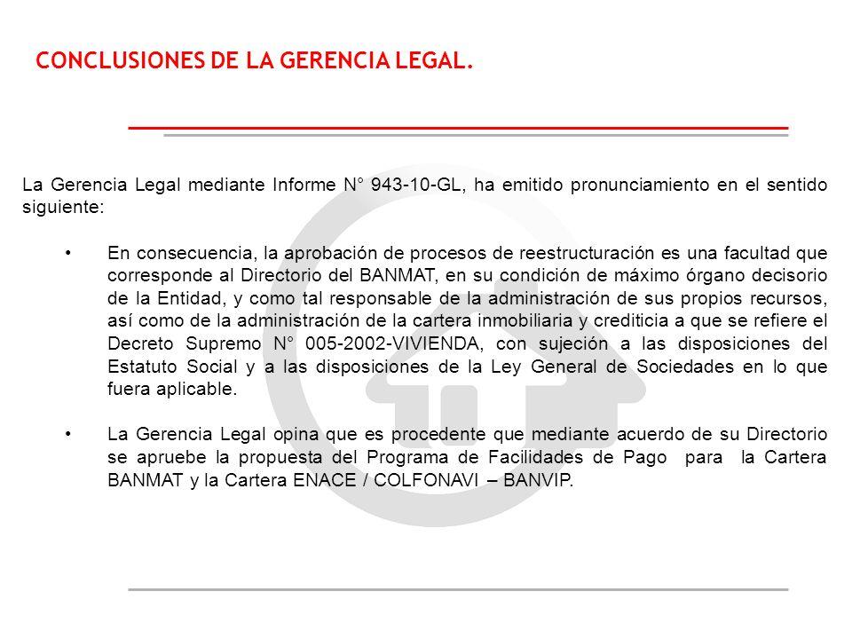 CONCLUSIONES DE LA GERENCIA LEGAL. La Gerencia Legal mediante Informe N° 943-10-GL, ha emitido pronunciamiento en el sentido siguiente: En consecuenci