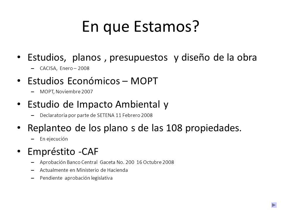 En que Estamos? Estudios, planos, presupuestos y diseño de la obra – CACISA, Enero – 2008 Estudios Económicos – MOPT – MOPT, Noviembre 2007 Estudio de
