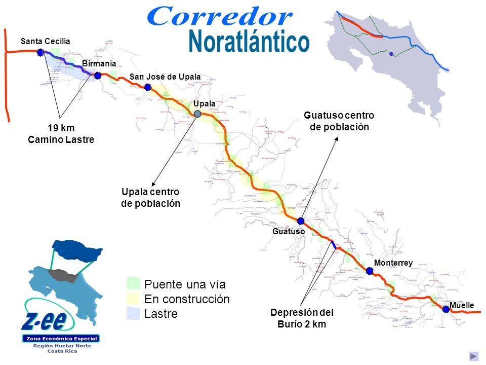 Upala centro de población 19 km Camino Lastre Guatuso centro de población Depresión del Burío 2 km Upala San José de Upala Birmania Monterrey Muelle S