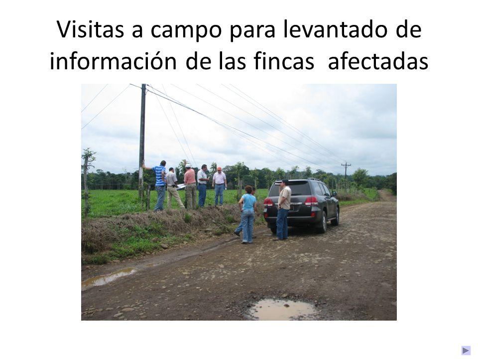 Visitas a campo para levantado de información de las fincas afectadas