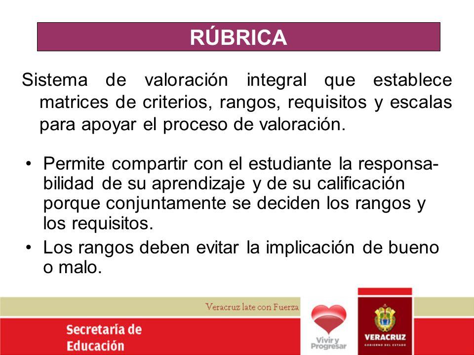 RÚBRICA Sistema de valoración integral que establece matrices de criterios, rangos, requisitos y escalas para apoyar el proceso de valoración. Permite