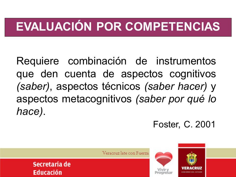 EVALUACIÓN POR COMPETENCIAS Requiere combinación de instrumentos que den cuenta de aspectos cognitivos (saber), aspectos técnicos (saber hacer) y aspe