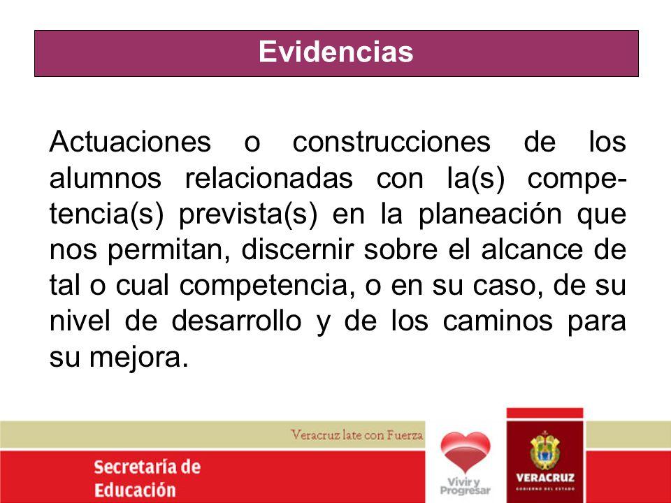 Evidencias Actuaciones o construcciones de los alumnos relacionadas con la(s) compe- tencia(s) prevista(s) en la planeación que nos permitan, discerni
