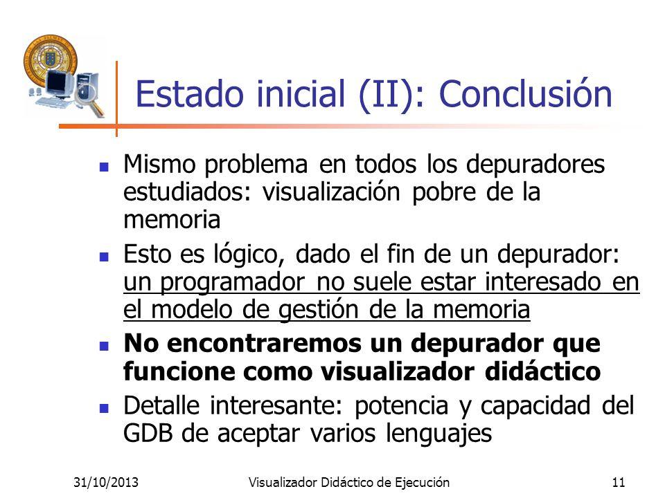 31/10/2013Visualizador Didáctico de Ejecución11 Estado inicial (II): Conclusión Mismo problema en todos los depuradores estudiados: visualización pobr