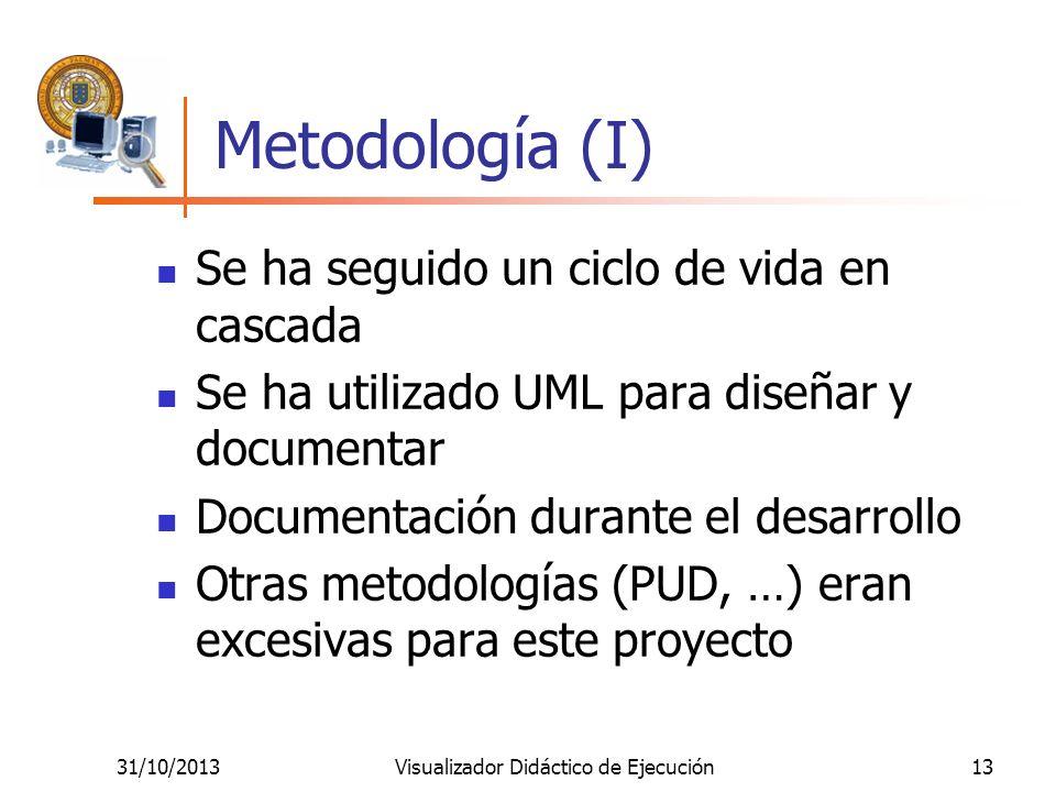 31/10/2013Visualizador Didáctico de Ejecución13 Metodología (I) Se ha seguido un ciclo de vida en cascada Se ha utilizado UML para diseñar y documenta