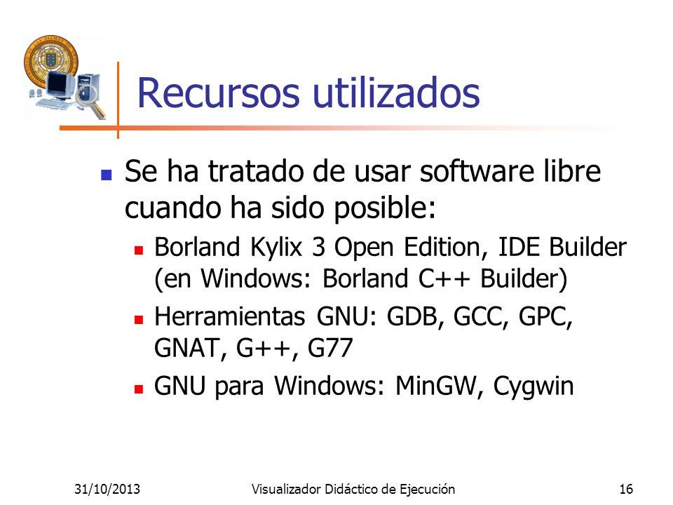 31/10/2013Visualizador Didáctico de Ejecución16 Recursos utilizados Se ha tratado de usar software libre cuando ha sido posible: Borland Kylix 3 Open