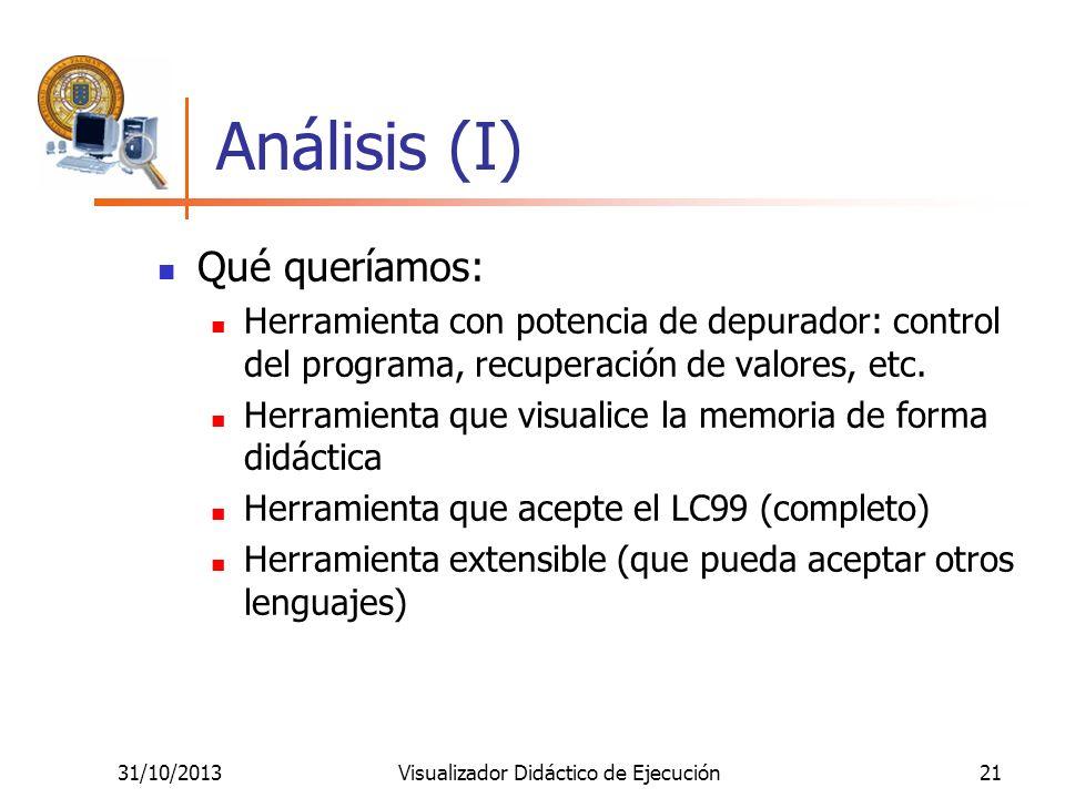 31/10/2013Visualizador Didáctico de Ejecución21 Análisis (I) Qué queríamos: Herramienta con potencia de depurador: control del programa, recuperación