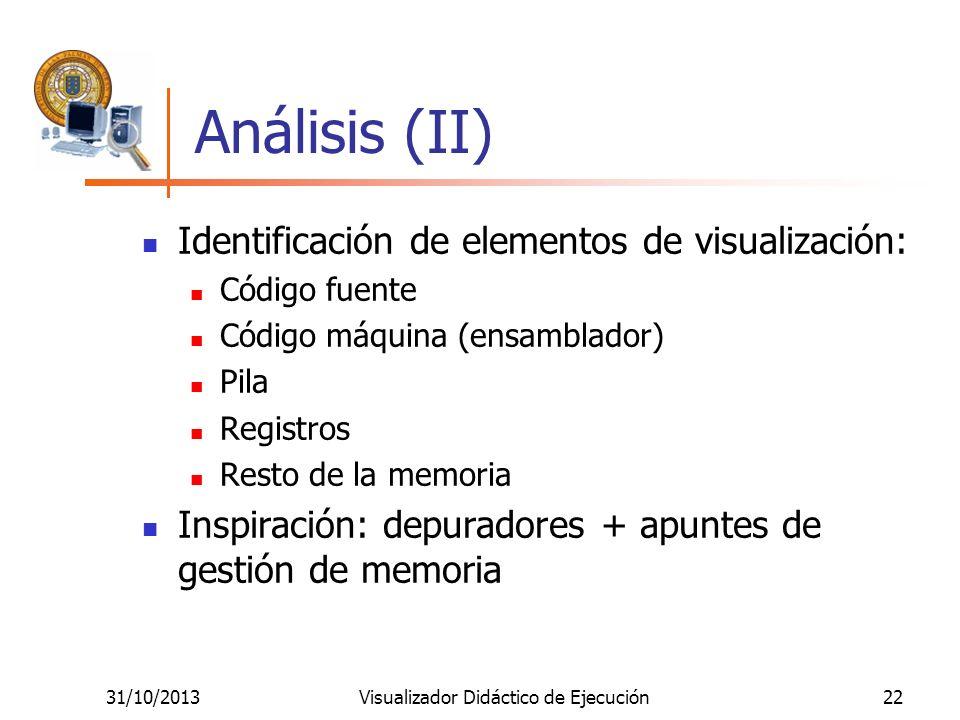 31/10/2013Visualizador Didáctico de Ejecución22 Análisis (II) Identificación de elementos de visualización: Código fuente Código máquina (ensamblador)
