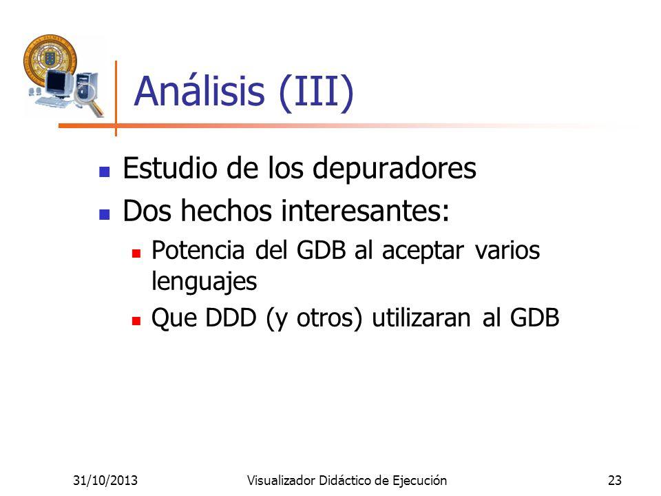 31/10/2013Visualizador Didáctico de Ejecución23 Análisis (III) Estudio de los depuradores Dos hechos interesantes: Potencia del GDB al aceptar varios