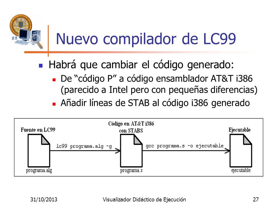 31/10/2013Visualizador Didáctico de Ejecución27 Nuevo compilador de LC99 Habrá que cambiar el código generado: De código P a código ensamblador AT&T i
