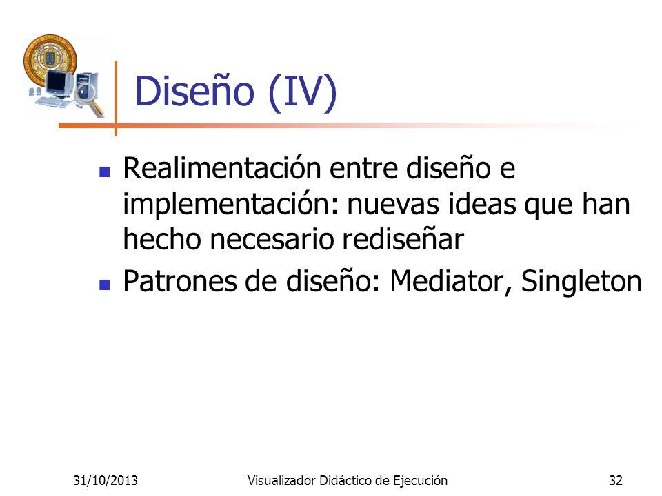 31/10/2013Visualizador Didáctico de Ejecución32 Diseño (IV) Realimentación entre diseño e implementación: nuevas ideas que han hecho necesario rediseñ