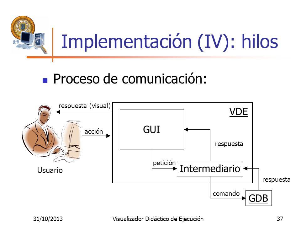 31/10/2013Visualizador Didáctico de Ejecución37 Implementación (IV): hilos GUI Intermediario GDB Usuario acción petición comando respuesta respuesta (