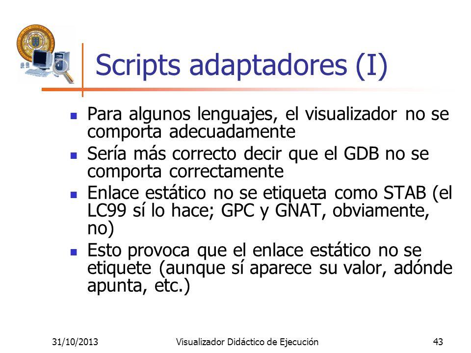 31/10/2013Visualizador Didáctico de Ejecución43 Scripts adaptadores (I) Para algunos lenguajes, el visualizador no se comporta adecuadamente Sería más