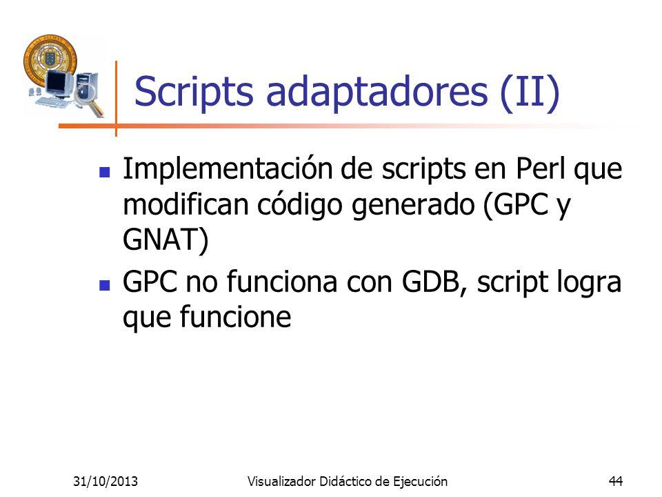 31/10/2013Visualizador Didáctico de Ejecución44 Scripts adaptadores (II) Implementación de scripts en Perl que modifican código generado (GPC y GNAT)