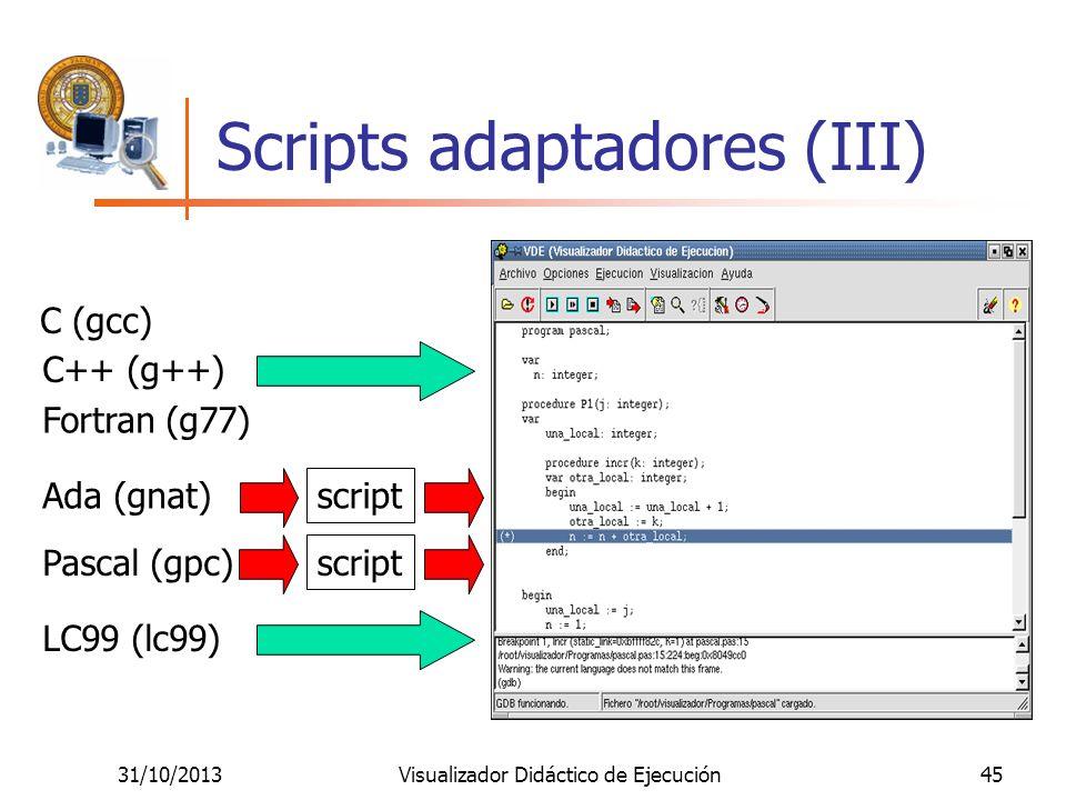 31/10/2013Visualizador Didáctico de Ejecución45 Scripts adaptadores (III) C (gcc) C++ (g++) Fortran (g77) Ada (gnat) Pascal (gpc) LC99 (lc99) script