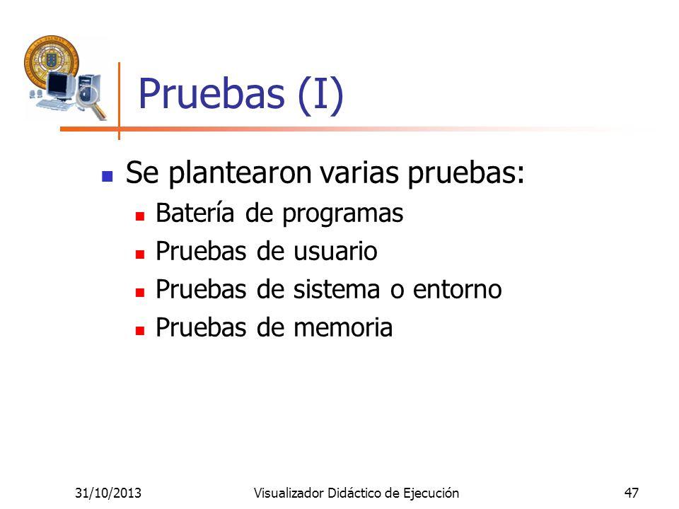 31/10/2013Visualizador Didáctico de Ejecución47 Pruebas (I) Se plantearon varias pruebas: Batería de programas Pruebas de usuario Pruebas de sistema o