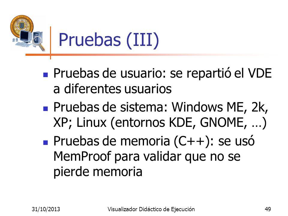 31/10/2013Visualizador Didáctico de Ejecución49 Pruebas (III) Pruebas de usuario: se repartió el VDE a diferentes usuarios Pruebas de sistema: Windows