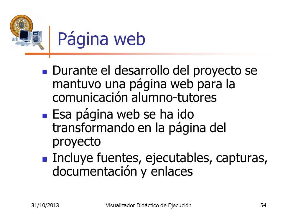 31/10/2013Visualizador Didáctico de Ejecución54 Página web Durante el desarrollo del proyecto se mantuvo una página web para la comunicación alumno-tu
