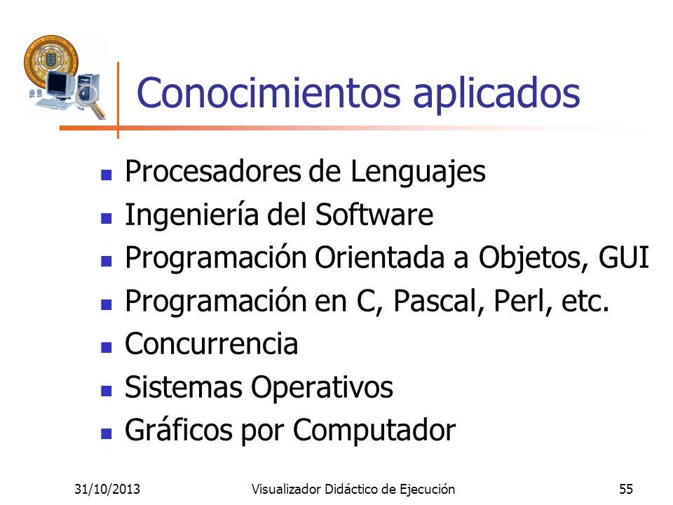 31/10/2013Visualizador Didáctico de Ejecución55 Conocimientos aplicados Procesadores de Lenguajes Ingeniería del Software Programación Orientada a Obj