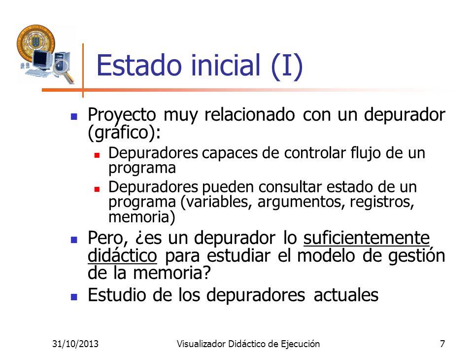 31/10/2013Visualizador Didáctico de Ejecución7 Estado inicial (I) Proyecto muy relacionado con un depurador (gráfico): Depuradores capaces de controla