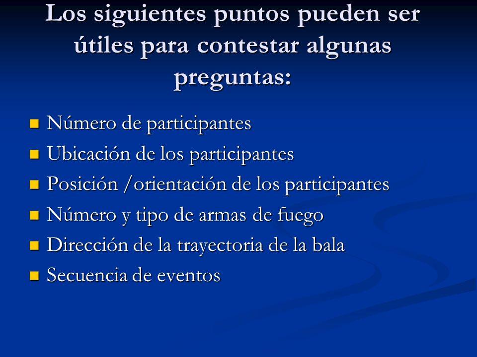 Los siguientes puntos pueden ser útiles para contestar algunas preguntas: Número de participantes Número de participantes Ubicación de los participant