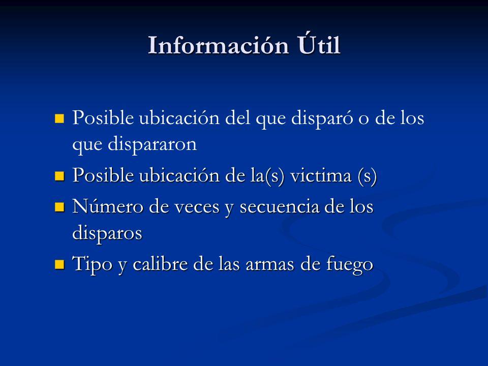 Información Útil Posible ubicación del que disparó o de los que dispararon Posible ubicación de la(s) victima (s) Posible ubicación de la(s) victima (