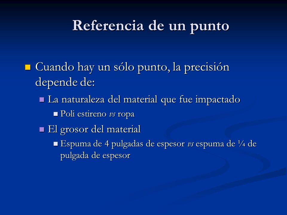 Referencia de un punto Cuando hay un sólo punto, la precisión depende de: Cuando hay un sólo punto, la precisión depende de: La naturaleza del materia