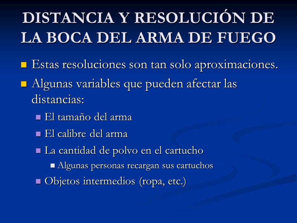 DISTANCIA Y RESOLUCIÓN DE LA BOCA DEL ARMA DE FUEGO Estas resoluciones son tan solo aproximaciones. Estas resoluciones son tan solo aproximaciones. Al