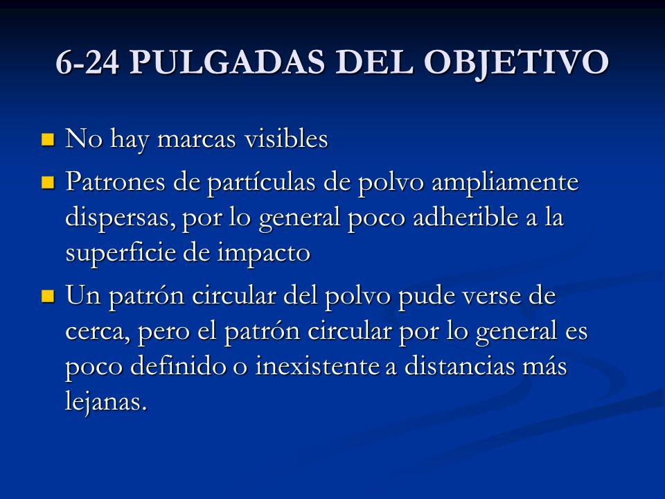 6-24 PULGADAS DEL OBJETIVO No hay marcas visibles No hay marcas visibles Patrones de partículas de polvo ampliamente dispersas, por lo general poco ad