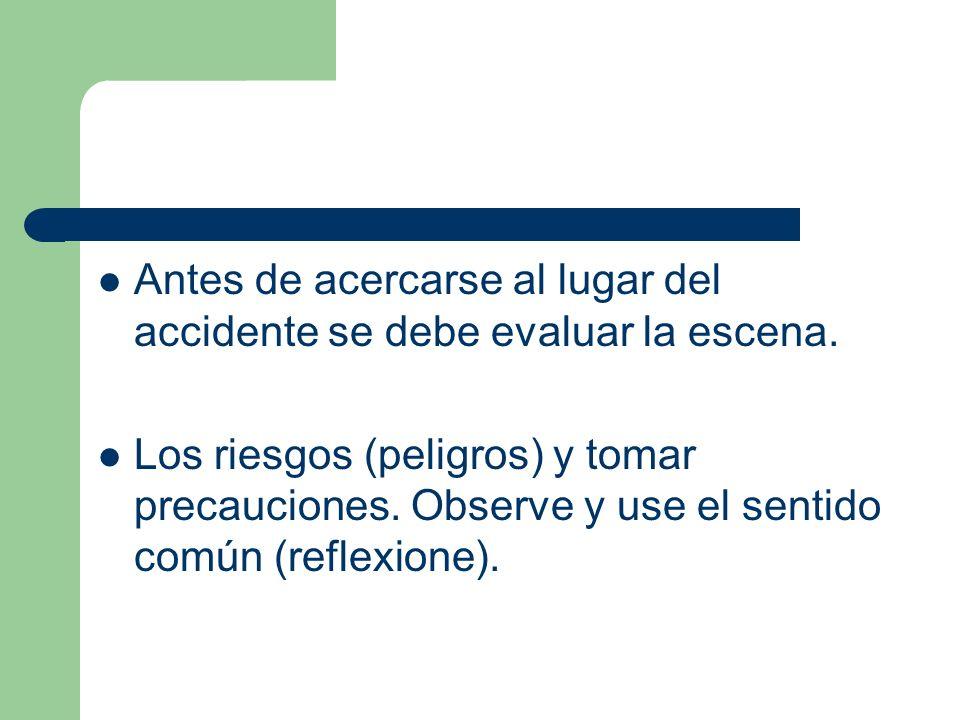 Antes de acercarse al lugar del accidente se debe evaluar la escena. Los riesgos (peligros) y tomar precauciones. Observe y use el sentido común (refl
