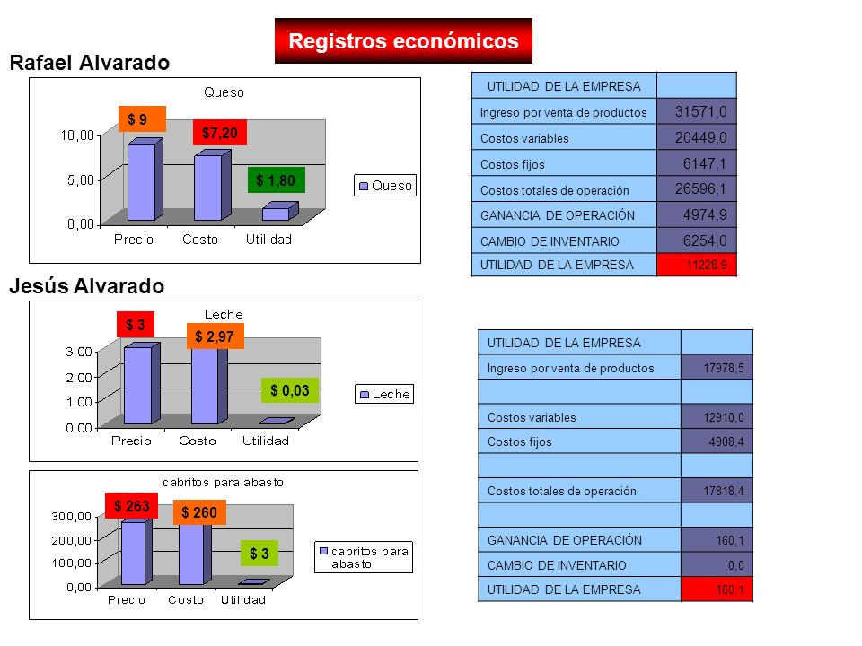 Registros económicos UTILIDAD DE LA EMPRESA Ingreso por venta de productos 31571,0 Costos variables 20449,0 Costos fijos 6147,1 Costos totales de oper