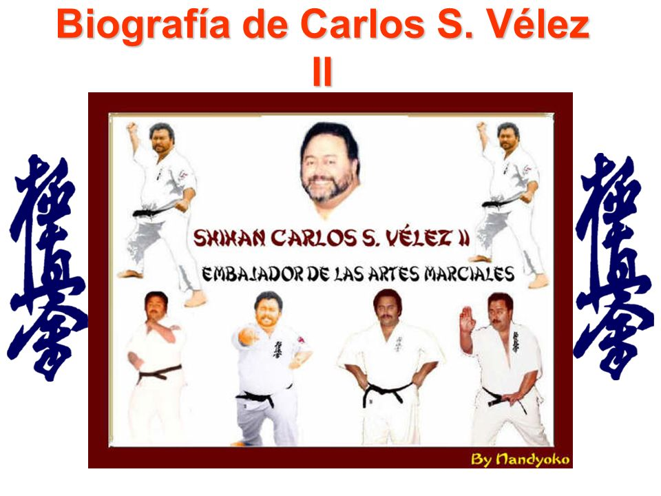 Carlos Suso Vélez, artista marcial, escritor y consultor, tiene cinturones negros en los estilos de artes marciales, Nisei Goju Ryu, Kyokushin y Sansen Goju Ryu Karate.
