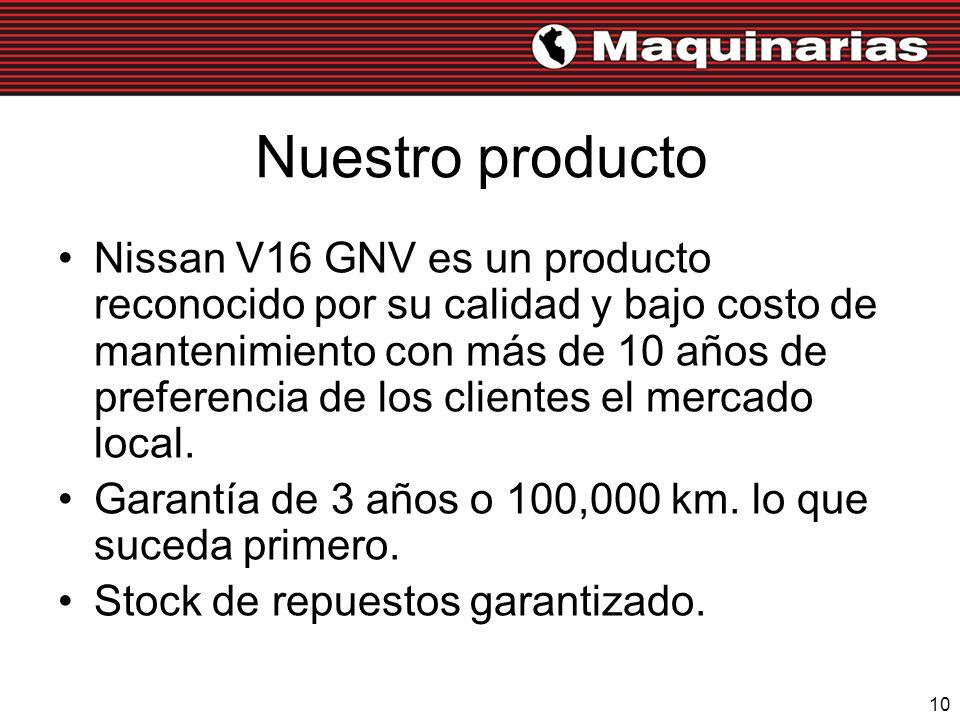 10 Nuestro producto Nissan V16 GNV es un producto reconocido por su calidad y bajo costo de mantenimiento con más de 10 años de preferencia de los cli