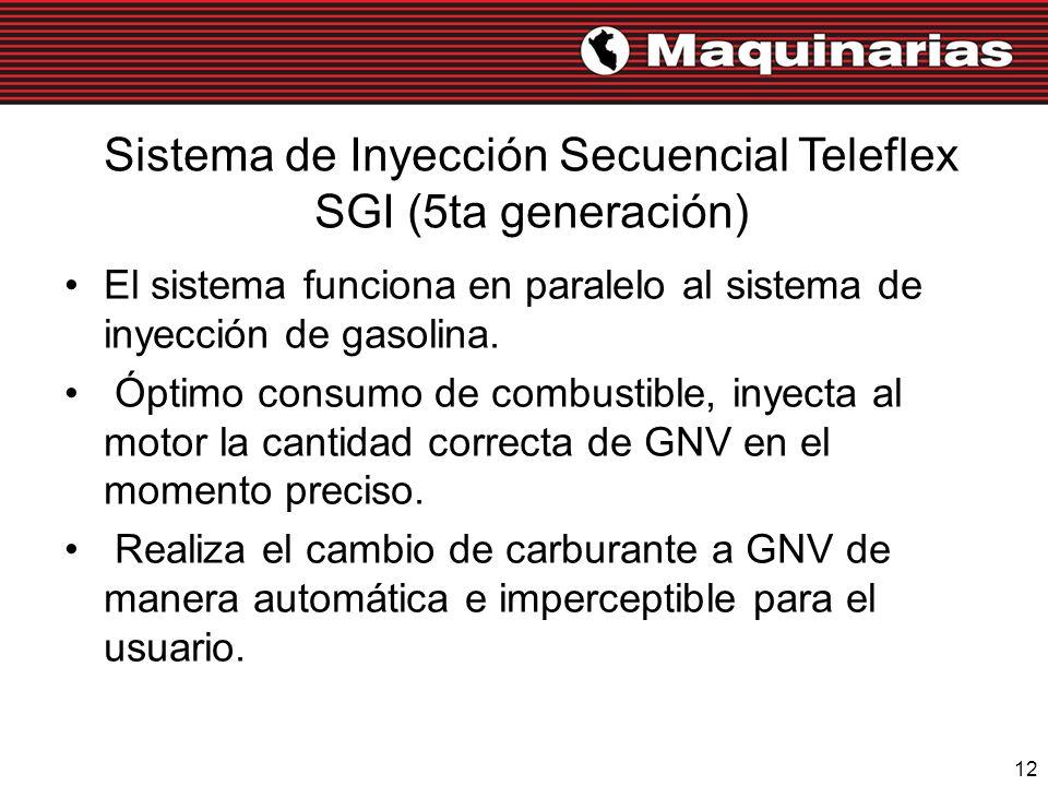 12 Sistema de Inyección Secuencial Teleflex SGI (5ta generación) El sistema funciona en paralelo al sistema de inyección de gasolina. Óptimo consumo d