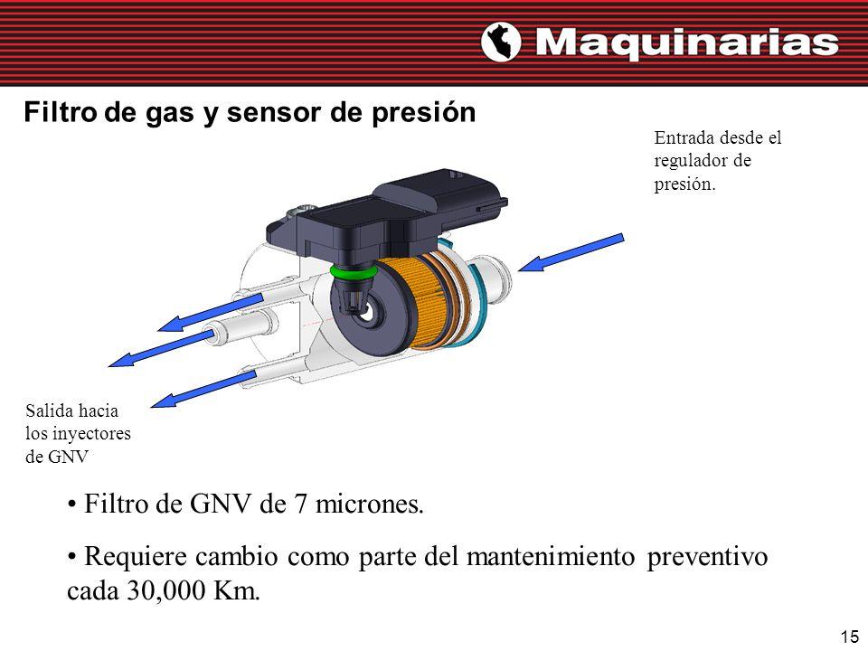 15 Filtro de gas y sensor de presión Entrada desde el regulador de presión. Salida hacia los inyectores de GNV Filtro de GNV de 7 micrones. Requiere c