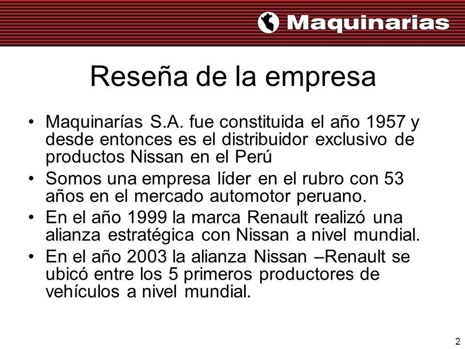 2 Reseña de la empresa Maquinarías S.A. fue constituida el año 1957 y desde entonces es el distribuidor exclusivo de productos Nissan en el Perú Somos