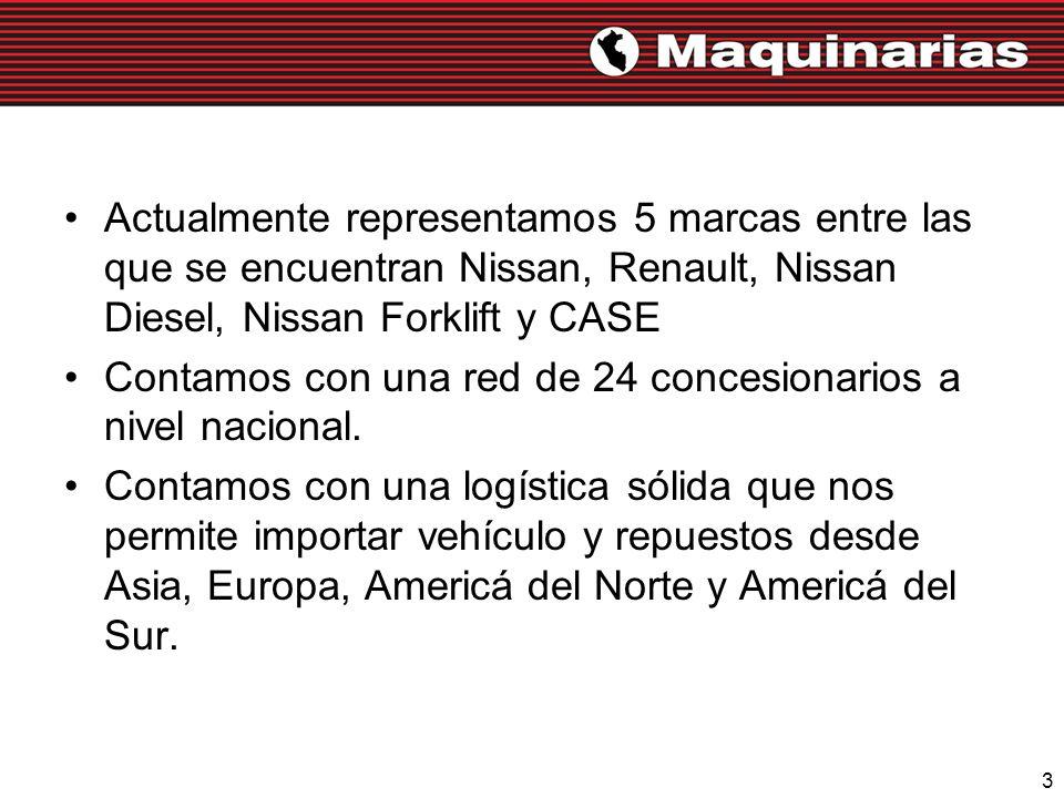 3 Actualmente representamos 5 marcas entre las que se encuentran Nissan, Renault, Nissan Diesel, Nissan Forklift y CASE Contamos con una red de 24 con