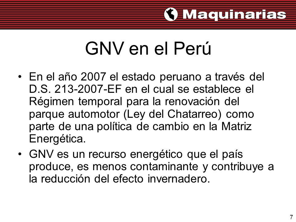 7 GNV en el Perú En el año 2007 el estado peruano a través del D.S. 213-2007-EF en el cual se establece el Régimen temporal para la renovación del par