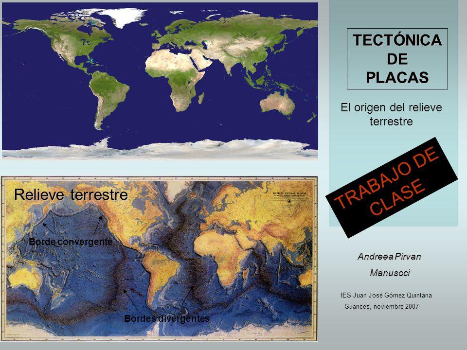 Capas de la Tierra Placas tectónicas Tipos de bordes El relieve de la Tierra es resultado de la combinación de la tectónica de placas y los agentes erosivos externos